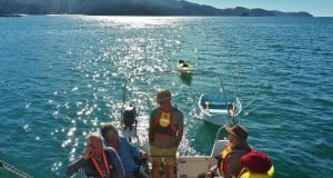 With John Lord yachting, sea-kayaking and exploring Adele Island, Abel Tasman National Park