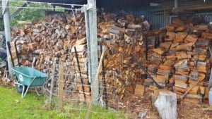 Firewood pile barn Gates Accommodation holiday Mapua Nelson